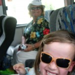 "Lucy and Grandma on the ""airplane"" bus"